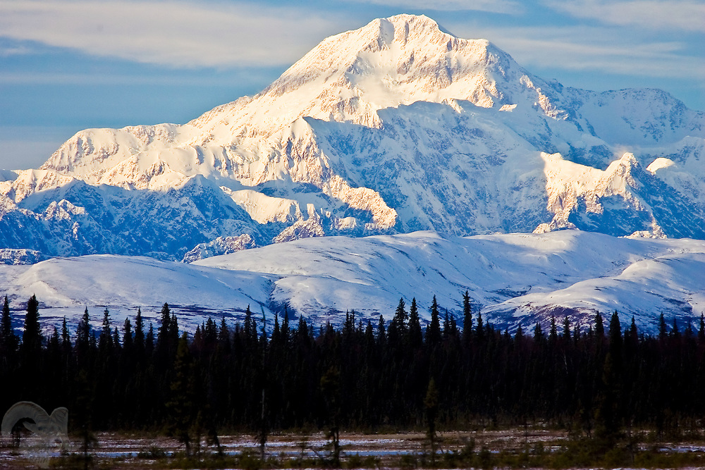 Denali towers over the surrounding landscape at sunset in south-central Alaska.