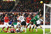 Bristol City goalkeeper Frank Fielding (1) tips the ball over with a great save during the EFL Sky Bet Championship match between Nottingham Forest and Bristol City at the City Ground, Nottingham, England on 19 January 2019.