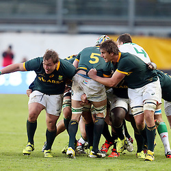 PADUA, ITALY - NOVEMBER 22: Coenie Oosthuizen and Eben Etzebeth driving Victor Matfield of South Africa during the Castle Lager Outgoing Tour match between Italy and South African at Stadio Euganeo on November 22, 2014 in Padua, Italy. (Photo by Steve Haag/Gallo Images)