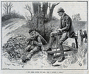Stonebreaker in a country lane, earning a few pence breaking stones to repair the roads.  Engraving, London, 1886.