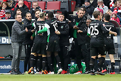 COLOGNE, Feb. 18, 2018  Players of Hannover celebrates after scoring during the Bundesliga match between 1. FC Koeln and Hannover 96 in Cologne, Germany, on Feb. 17, 2018. The match ended with a tie 1-1. (Credit Image: © Ulrich Hufnagel/Xinhua via ZUMA Wire)