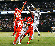 Oakland Raiders tight end Jared Cook makes a late game reception vs the KC Chiefs.