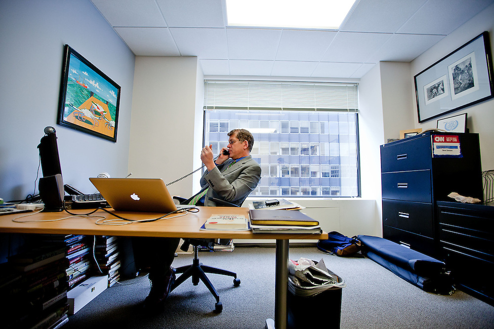 Steve Clemons poses for a portrait in his office in Washington on Friday, Mar. 18, 2011.  (Photo by Jay Westcott/Politico)