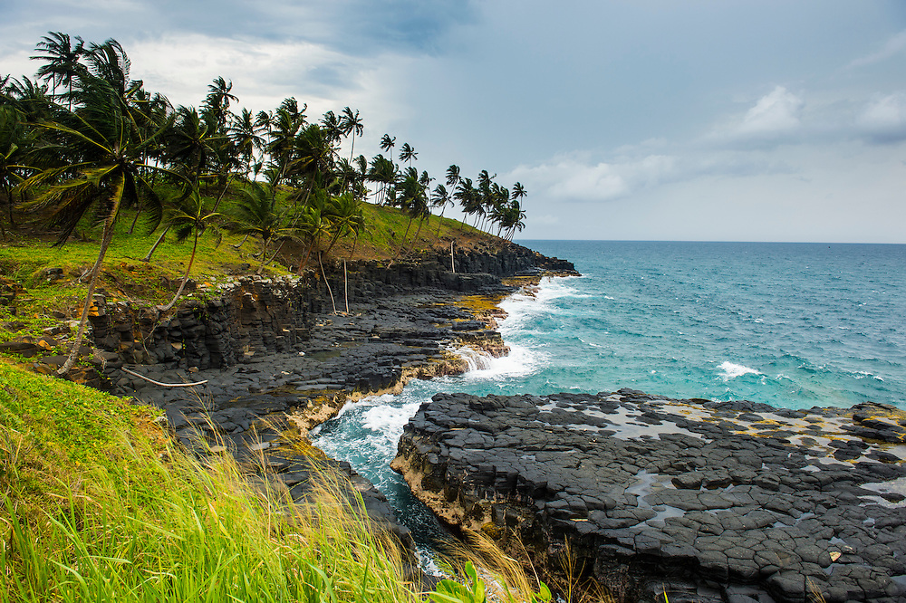 Rocky coast on the east coast of Sao Tome, Sao Tome and Principe, Atlantic Ocean