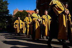 October 1, 2018 - Krakow, Poland - Professors with yellow and back clothing attend the 655th procession of the opening of the academic year at Jagiellonian University. Founded in 1364, the Jagiellonian University is the oldest university in Poland, the second oldest university in Central Europe, and one of the oldest surviving universities in the world. (Credit Image: © Omar Marques/SOPA Images via ZUMA Wire)