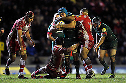 Graham Kitchener of Leicester Tigers takes on the Gloucester defence - Photo mandatory by-line: Patrick Khachfe/JMP - Mobile: 07966 386802 13/02/2015 - SPORT - RUGBY UNION - Leicester - Welford Road - Leicester Tigers v Gloucester Rugby - Aviva Premiership