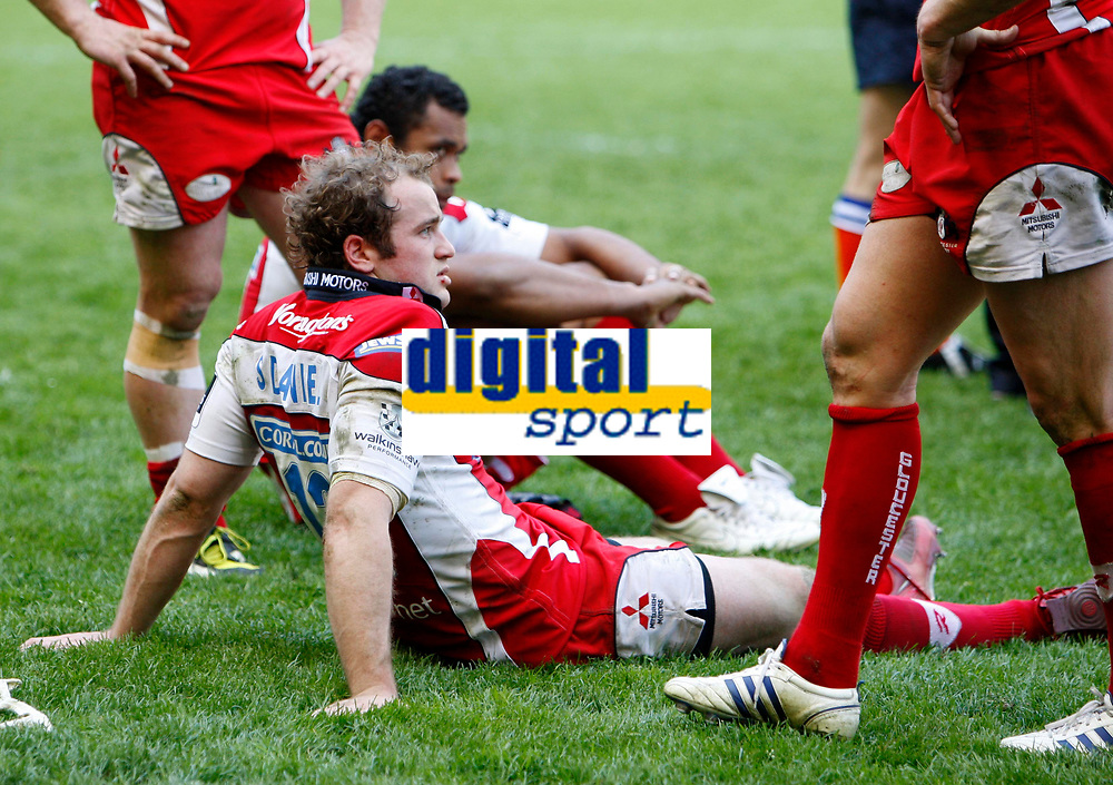 Photo: Richard Lane/Richard Lane Photography. Gloucester Rugby v Cardiff Blues. Anglo Welsh EDF Energy Cup Final. 18/04/2009. Gloucester's James SImpson-Daniel shows his dejection.