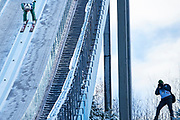 Poland, Wisla Malinka - 2017 November 19: Sebastian Colorado from Italy slides on the hill during FIS Ski Jumping World Cup Wisla 2017/2018 - Day 3 at jumping hill of Adam Malysz on November 19, 2017 in Wisla Malinka, Poland.<br /> <br /> Mandatory credit:<br /> Photo by &copy; Adam Nurkiewicz<br /> <br /> Adam Nurkiewicz declares that he has no rights to the image of people at the photographs of his authorship.<br /> <br /> Picture also available in RAW (NEF) or TIFF format on special request.<br /> <br /> Any editorial, commercial or promotional use requires written permission from the author of image.