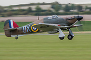 TA Hurricane takes off - he Duxford Battle of Britain Air Show is a finale to the centenary of the Royal Air Force (RAF) with a celebration of 100 years of RAF history and a vision of its innovative future capability.