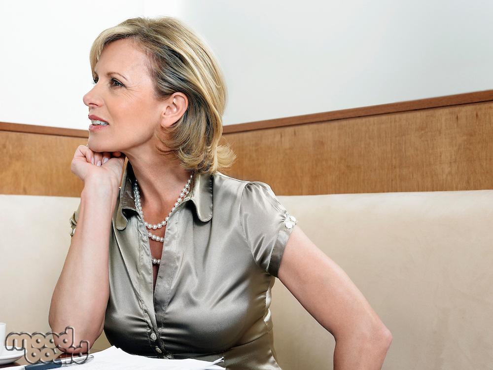 Businesswoman in Restaurant