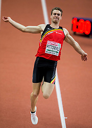 Niels Pittomvils of Belgium competes in the Heptathlon Long Jump Men on day two of the 2017 European Athletics Indoor Championships at the Kombank Arena on March 4, 2017 in Belgrade, Serbia. Photo by Vid Ponikvar / Sportida