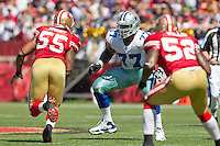 18 September 2011: Right tackle (77) Tyron Smith of the Dallas Cowboys blocks against the San Francisco 49ers during the first half of the Cowboys 27-24 overtime victory against the 49ers in an NFL football game at Candlestick Park in San Francisco, CA.