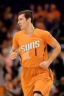 Nov 7, 2014; Phoenix, AZ, USA; Phoenix Suns guard Goran Dragic (1) runs up the court against the Sacramento Kings at US Airways Center. The Kings won 114-112 in double overtime. Mandatory Credit: Jennifer Stewart-USA TODAY Sports