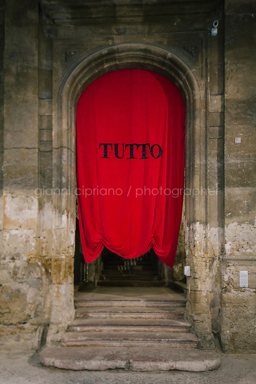 PALERMO, ITALY - 16 JUNE 2018: Matilde Cassani's &quot;Tutto&quot; (2018), mixed media installation at Palazzo Costantino during Manifesta 12, the European nomadic art biennal, in Palermo, Italy, on June 16th 2018.<br /> <br /> Manifesta is the European Nomadic Biennial, held in a different host city every two years. It is a major international art event, attracting visitors from all over the world. Manifesta was founded in Amsterdam in the early 1990s as a European biennial of contemporary art striving to enhance artistic and cultural exchanges after the end of Cold War. In the next decade, Manifesta will focus on evolving from an art exhibition into an interdisciplinary platform for social change, introducing holistic urban research and legacy-oriented programming as the core of its model.<br /> Manifesta is still run by its original founder, Dutch historian Hedwig Fijen, and managed by a permanent team of international specialists.<br /> <br /> The City of Palermo was important for Manifesta&rsquo;s selection board for its representation of two important themes that identify contemporary Europe: migration and climate change and how these issues impact our cities.