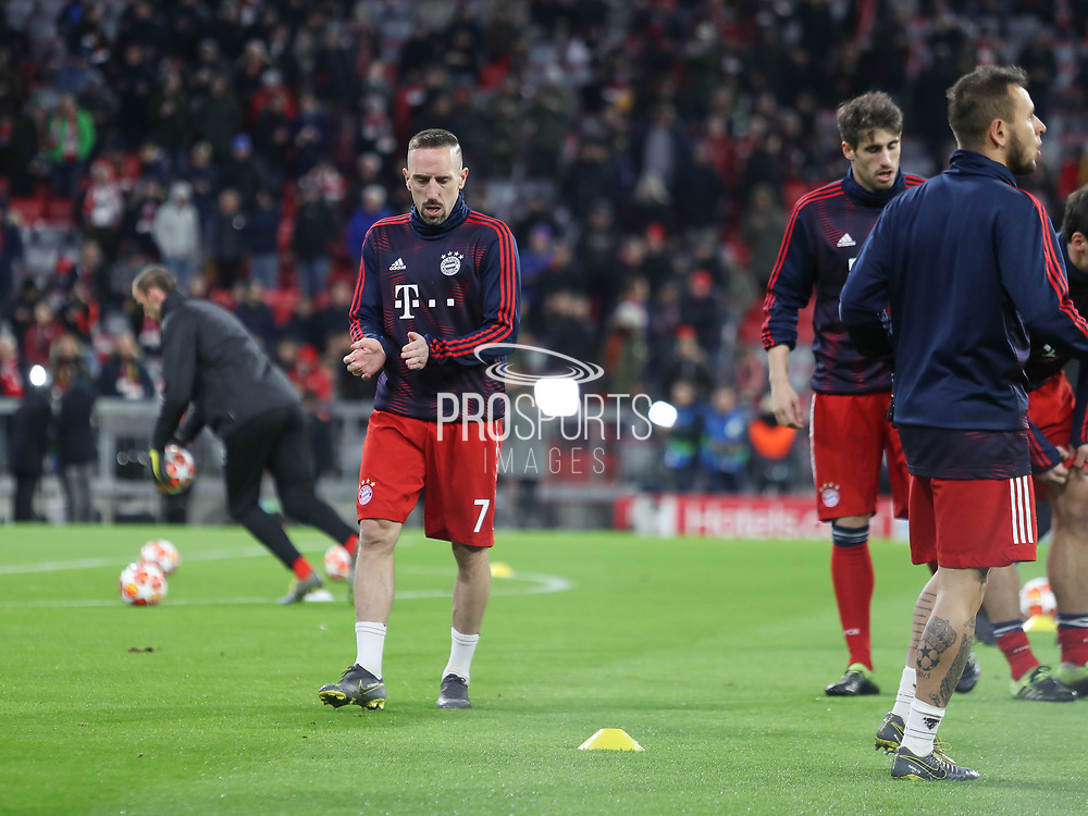 Frank Ribery of Bayern Munich warms up during the Champions League round of 16, leg 2 of 2 match between Bayern Munich and Liverpool at the Allianz Arena stadium, Munich, Germany on 13 March 2019.
