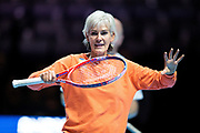 Judy Murray on court participating in a coaching session with competition winners ahead of the Andy Murray Live event at SSE Hydro, Glasgow, Scotland on 7 November 2017. Photo by Craig Doyle.