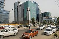 Cars and skyscrapers in Gurgaon, New Delhi's new CBD.