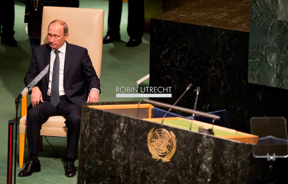 NEW YORK - Vladimir Poetin King Willem Alexander and Queen Maxima arrive at the 70th Session of the UN General Assembly - the United Nations COPYRIGHT ROBIN UTRECHT