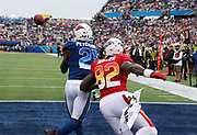 Jan 28, 2018; Orlando, FL, USA; NFC cornerback Patrick Peterson of the Arizona Cardinals (21) intercepts a pass intended for AFC tight end Delanie Walker of the Tennessee Titans (82) in the 2018 NFL Pro Bowl at Camping World Stadium. The AFC defeated the NFC 24-23. (Steve Jacobson/Image of Sport)