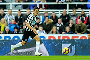 Yoshinori Muto (#13) of Newcastle United on the ball during the Premier League match between Newcastle United and Watford at St. James's Park, Newcastle, England on 3 November 2018.