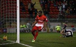 Leyton Orient's Kevin Lisbie scores his sides first goal 1-1 - Photo mandatory by-line: Robin White/JMP - Tel: Mobile: 07966 386802 11/02/2014 - SPORT - FOOTBALL - Leyton - Brisbane Road - Leyton Orient v Bristol City - Sky Bet League One