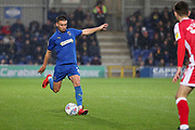 AFC Wimbledon defender Luke O'Neill (2) trying a through ball during the EFL Sky Bet League 1 match between AFC Wimbledon and Gillingham at the Cherry Red Records Stadium, Kingston, England on 23 November 2019.