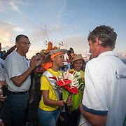 Arrivée de Fred Denis, vainqueur de la Mini-transat à Pointe à pitre