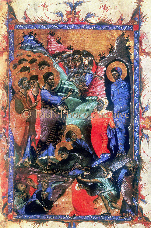 Jesus raising Lazarus after four days. Martha and Mary, sisters of Lazarus kneel at Jesus' feet.  After Armenian Evangelistery (c1280).