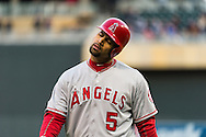 Albert Pujols #5 of the Los Angeles Angels reacts at the end of an inning during a game against the Minnesota Twins on April 16, 2013 at Target Field in Minneapolis, Minnesota.  The Twins defeated the Angels 8 to 6.  Photo: Ben Krause
