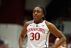 March 21, 2011; Stanford, CA, USA; Stanford Cardinal forward Nnemkadi Ogwumike (30) before a free throw against the St. John's Red Storm during the second half of the second round of the 2011 NCAA women's basketball tournament at Maples Pavilion. Stanford defeated St. John's 75-49.
