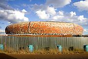Soccer world cup 2010 : building of the soccer stadium in Johannesburg, Soccer City stadium (South Africa) *** Coupe du monde de football 2010 : construction du stade de football de Johannesbourg, le stade de Soccer City (afrique du sud)