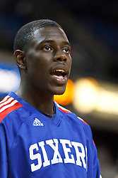 March 18, 2011; Sacramento, CA, USA;  Philadelphia 76ers point guard Jrue Holiday (11) warms up before the game against the Sacramento Kings at the Power Balance Pavilion. Philadelphia defeated Sacramento 102-80.