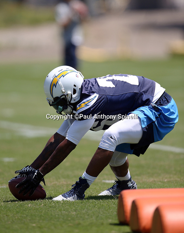 San Diego Chargers cornerback Patrick Robinson (26) chases a fumbled ball as he runs a drill during the San Diego Chargers Spring 2015 NFL minicamp practice held on Tuesday, June 16, 2015 in San Diego. (©Paul Anthony Spinelli)