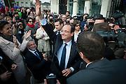 François Hollande, kanidaat van de Partie Socialiste bij de Franse  Presidentsverkiezingen. Meeting in Blois.