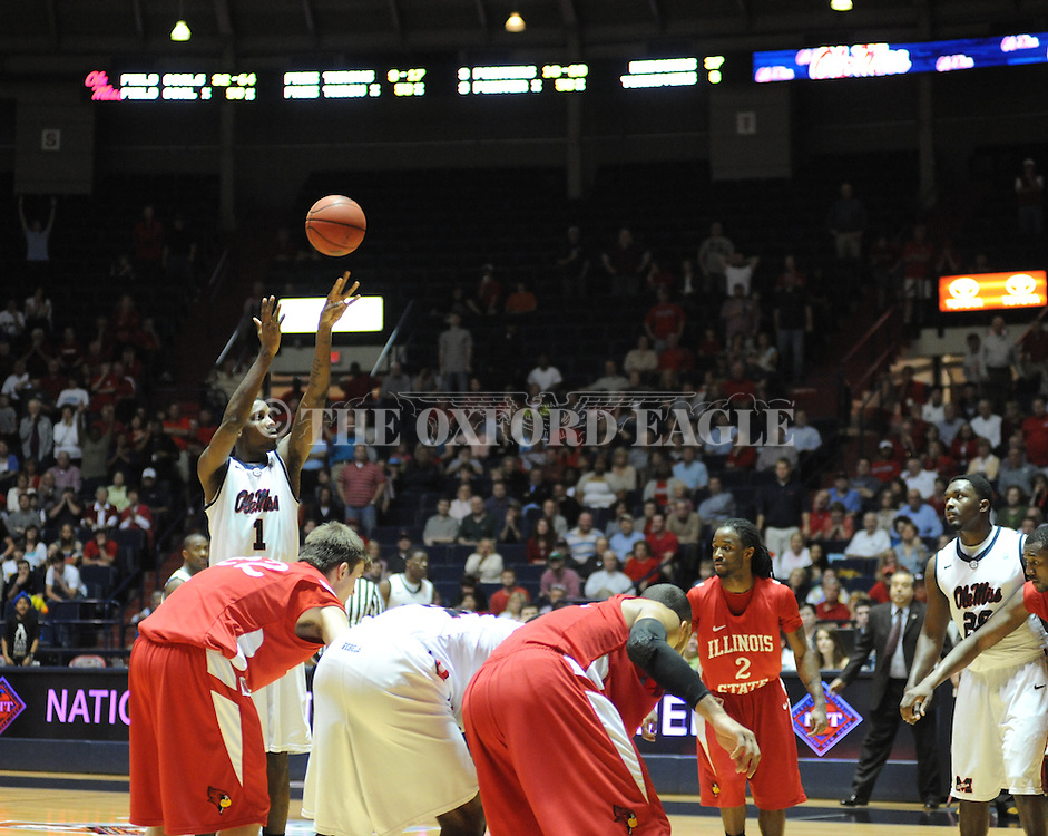 """Ole Miss' Terrance Henry (1) gives the Rebels a lead late in the game vs. Illinois State in a National Invitational Tournament game at the C.M. """"Tad"""" Smith Coliseum in Oxford, Miss. on Wednesday, March 14, 2012. Illinois State won 96-93 in overtime. (AP Photo/Oxford Eagle, Bruce Newman)"""