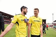 Burton Albion defender John Mousinho (4) and Burton Albion defender Ben Turner (6) celebrate Burton Albion staying in the Championship in only their first season in the second tier during the EFL Sky Bet Championship match between Barnsley and Burton Albion at Oakwell, Barnsley, England on 29 April 2017. Photo by Richard Holmes.
