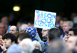 A chelsea fan holds up a sign for Diego Costa of Chelsea during the match - Mandatory by-line: Paul Terry/JMP - 16/04/2016 - FOOTBALL - Stamford Bridge - London, England - Chelsea v Manchester City - Barclays Premier League