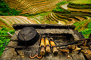 Preparation of the famous bamboo chicken, Tiantouzhai village, Dragon's backbone Rice terraces, China