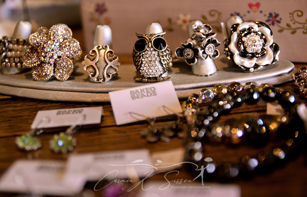 Jewelry by Baked Beads and Cerissina Bijoux sits on a table at the Funky Monkey gift shop Oct. 10, 2011 in Holly Springs, Miss. The store, located inside Tyson Drug. Co., features a number of gift items from Mississippi artisans. (Photo by Carmen K. Sisson/Cloudybright)