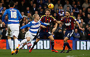 Queens Park Rangers forward Sebastian Polter has the ball on the edge of the box during the Sky Bet Championship match between Queens Park Rangers and Ipswich Town at the Loftus Road Stadium, London, England on 6 February 2016. Photo by Andy Walter.