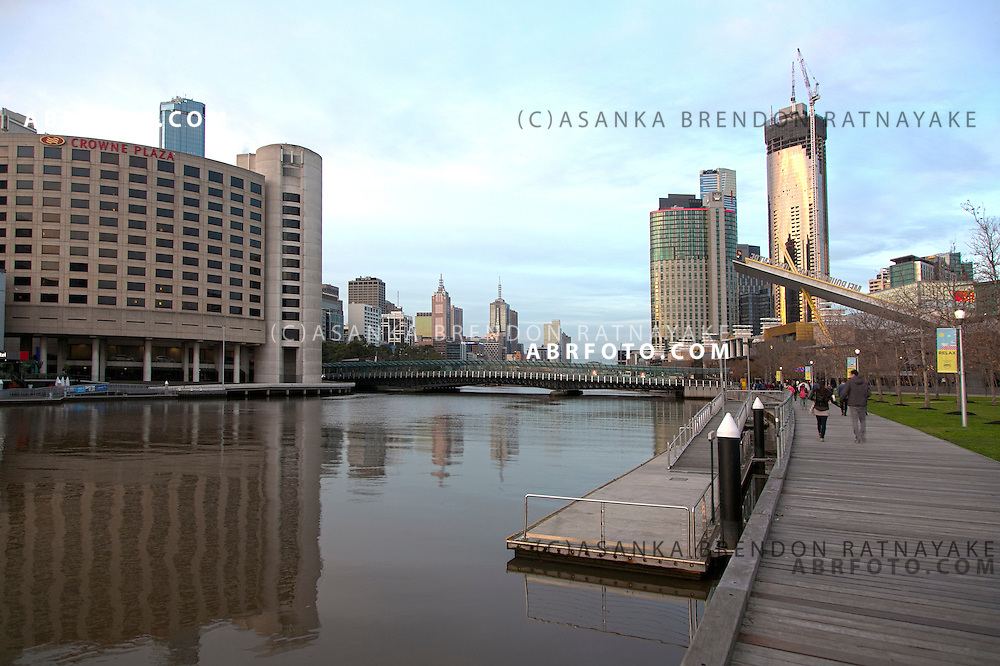 Yarra river near SouthBank at South Wharf near the Melbourne Exhibition Center