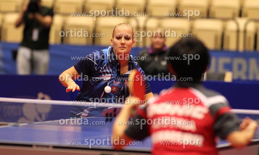 20.10.2012, MGH Arena, Herning, DEN, ETTU, Tischtennis Europameisterschaft, im Bild Barbara BALAZOVA (SVK) bei der Ballannahme // during the Table Tennis European Championships at the MGH Arena, Herning, Denmark on 2012/10/20. EXPA Pictures © 2012, PhotoCredit: EXPA/ Eibner/ Wuest **** ATTENTION - OUT OF GER *****