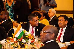 The Honorable John P. De Jongh, Jr. and Consul General, Mr. Prabhu Dayal.  The India Association of the Virgin Islands 66th Independence Day Celebration. Friday September 7, 2012. Marriott's Frenchman's Reef Resort.  © Aisha-Zakiya Boyd