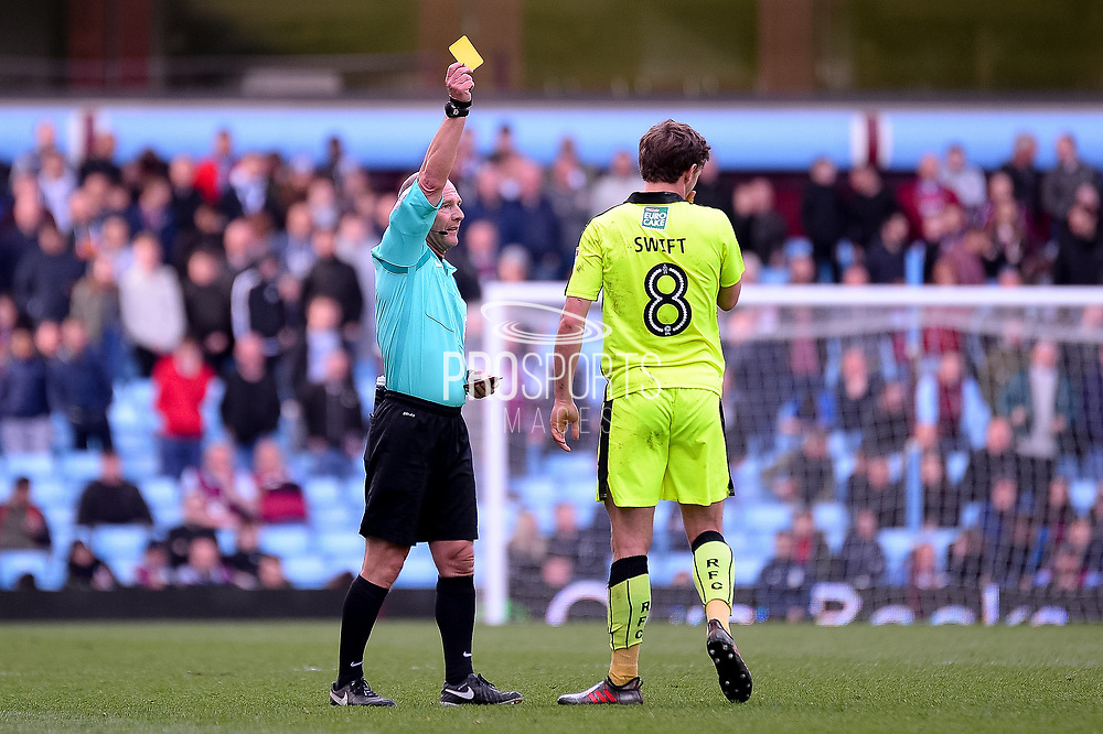 Reading midfielder John Swift (8) shown a yellow card, booked during the EFL Sky Bet Championship match between Aston Villa and Reading at Villa Park, Birmingham, England on 15 April 2017. Photo by Dennis Goodwin.