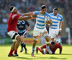 Pablo Matera of Argentina takes on the Tonga defence - Mandatory byline: Patrick Khachfe/JMP - 07966 386802 - 04/10/2015 - RUGBY UNION - Leicester City Stadium - Leicester, England - Argentina v Tonga - Rugby World Cup 2015 Pool C.