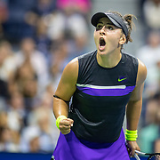 2019 US Open Tennis Tournament- Day Ten.  Bianca Andreescu of Canada reacts to winning the second set against Elise Mertens of Belgium in the Women's Singles Quarter-Finals match on Arthur Ashe Stadium during the 2019 US Open Tennis Tournament at the USTA Billie Jean King National Tennis Center on September 4th, 2019 in Flushing, Queens, New York City.  (Photo by Tim Clayton/Corbis via Getty Images)
