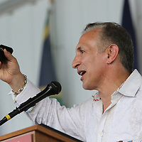 "CANASTOTA, NY - JUNE 14: Ray ""Boom Boom"" Mancini holds up his ring as he speaks during the induction ceremony at the International Boxing Hall of Fame induction Weekend of Champions events on June 14, 2015 in Canastota, New York. (Photo by Alex Menendez/Getty Images) *** Local Caption *** Ray ""Boom Boom"" Mancini"