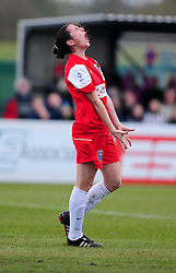 Bristol Academy Women's'  Natalia Pablos Sanchon cuts a trusted figure as she misses an opportunity to score - Photo mandatory by-line: Dougie Allward/JMP - Tel: Mobile: 07966 386802 14/04/2013 - SPORT - FOOTBALL - Stoke Gifford Stadium - Bristol - Bristol Academy Womens V Everton Ladies - FA Women's Cup 6th Round