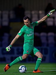 LONDON, ENGLAND - Friday, August 17, 2018: Arsenal's goalkeeper Deyan Iliev during the Under-23 FA Premier League 2 Division 1 match between Arsenal FC and Liverpool FC at Meadow Park. (Pic by David Rawcliffe/Propaganda)