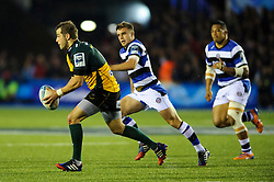Northampton Fly-Half Stephen Myler is challenged by Bath Fly-Half George Ford  - mandatory by-line: Rogan Thomson/JMP - Tel: 07966 386802 - 23/05/2014 - SPORT - RUGBY UNION - Cardiff Arms Park, Wales - Bath Rugby v Northampton Saints - Amlin Challenge Cup Final.
